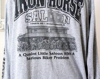 Vintage Iron Horse Saloon Biker Bar Long Sleeved T Shirt Men Sz XL