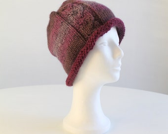 Hand knit beanie hat with cable in shades of purple