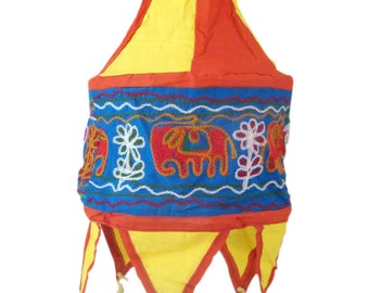 Bulb Shade Lamp Applique with Embroidery Elephant Handmade Home Decor Accent Door Hanging Cotton Cloth Home Decor from Odisha in East India