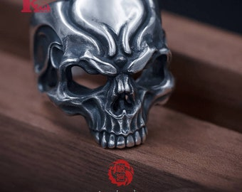 Skull Ring Sterling Silver 925, with Aged Finish, Oxidized Silver, Songyan Jewelry