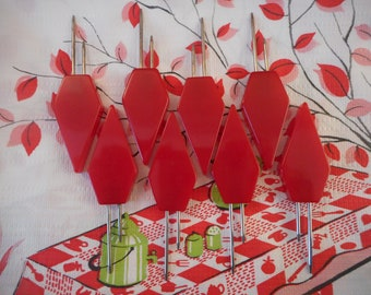 Bakelite  Licorice Red  Kob Knob Corn Cob Holders set 8