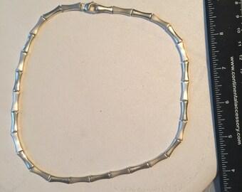 "Vintage Sterling Silver Solid Link 17"" Necklace - AB"
