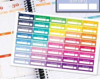 Planner Stickers Erin Condren Life Planner (Eclp) - 40 Spending Budget Tracker Money Stickers (#6024)