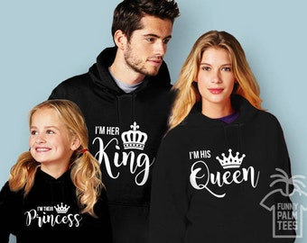 Family outfits family hoodies king queen princess hoodies family matching hoodies family sweatshirts christmas family outfits king queen