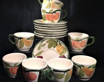 Franciscan Cups and Saucers. Franciscan Fresh Fruit Pattern. Vintage Cups and Saucers. Set of 8