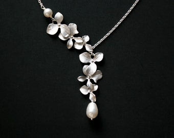 Romantic Orchid flower pearl necklace, sterling silver - wedding bridal jewelry bride bridesmaid gift, elegant floral necklace, pearl