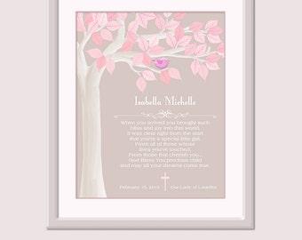 Baby Girl Christening Gift - Baptism Gift - Baby Girl Baptism - Naming Day Gift - Girl Nursery Art - Baby Dedication Gift  Girl Christening