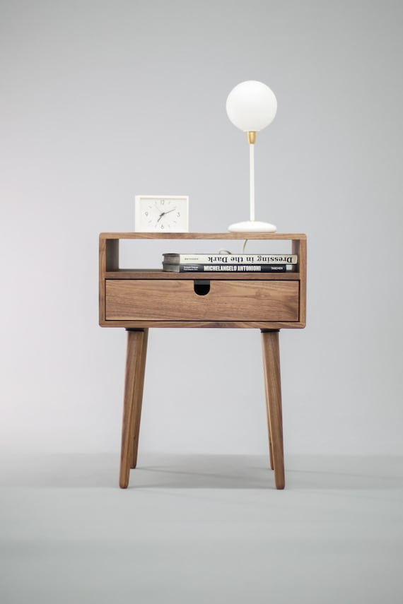 mid century nightstand with drawer in solid walnut wood