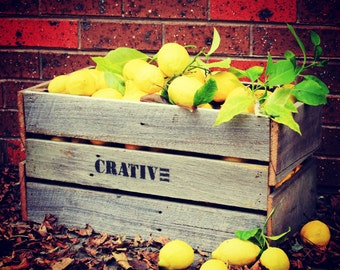 Wooden Fruit Crate - Vintage style made from reclaimed fence wood