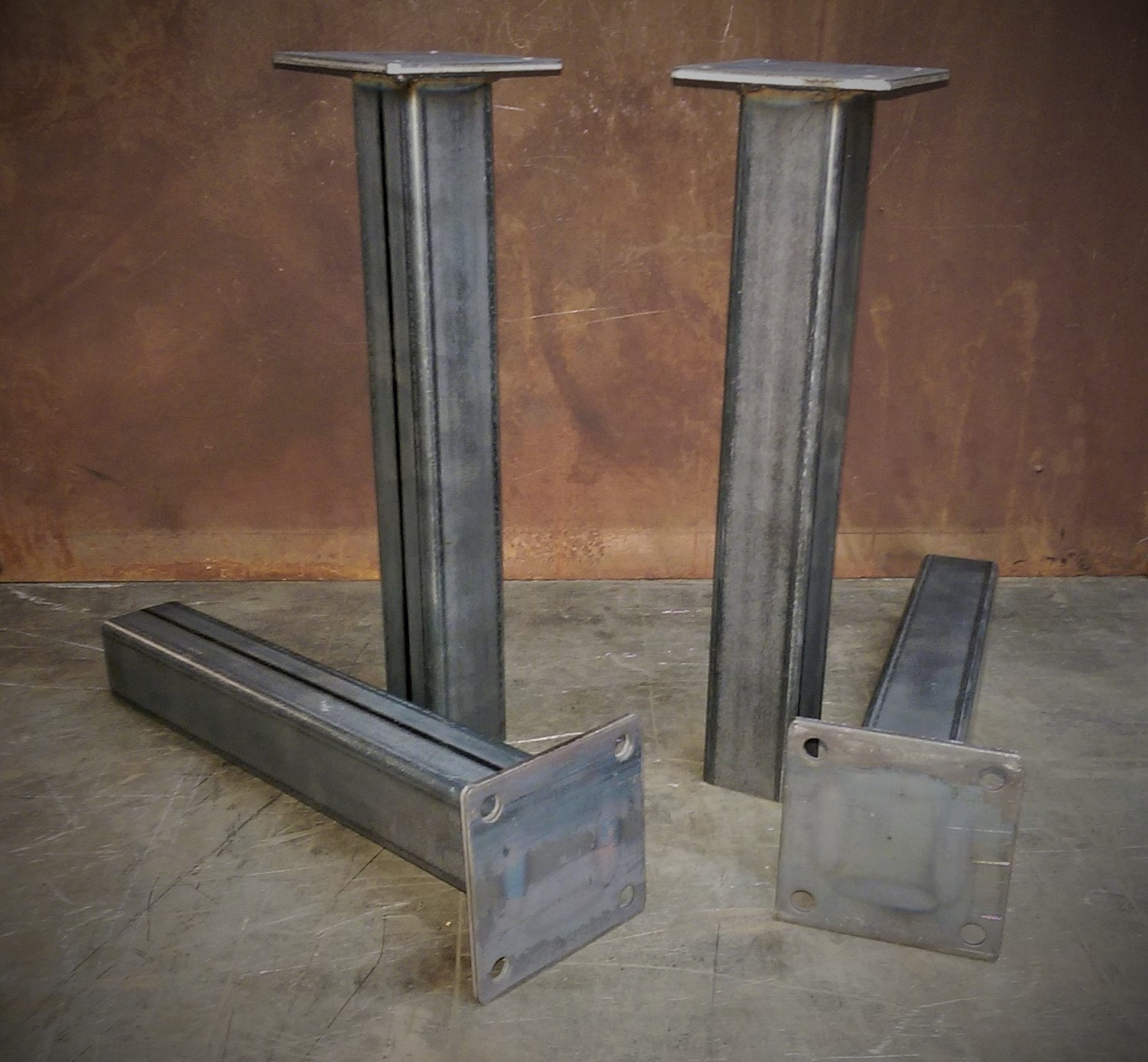 Set Of 2 Square Design Nesting Coffee Tables Made Of Black: Metal Tube Table Legs Set Of 4 1228height