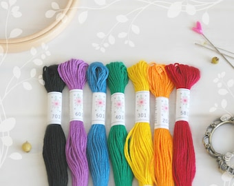 "Embroidery Floss ""Rainbow Pallete"" - 7 Skeins Pack - Embroidery Thread by Sublime - Sublime Stitching - Cotton Floss - Embroidery Floss"