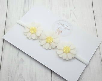 Baby/Girls White Daisy Headband -Christening- Christening Headband - Flower Girl - Bridesmaid - Wedding Hair -Flower Headband -Baby Headband