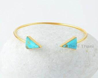 Turquoise Bangle, Arizona Turquoise 10x15mm Triangle 925 Silver Gemstone Bangle, 18k Gold Plated Bangle, Mothers Day, Gift For Mom