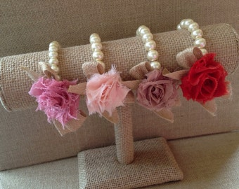 Custom pearl bracelet, corsage, flower girl gift, birthday gift, bridesmaid gift, baby shower gift, bridal jewelry, ribbon and pearl jewelry