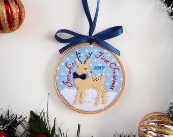 Baby's first Christmas ornament, personalized Christmas ornament, Rudolph  the reindeer, baby shower gift, holiday tree decoration,