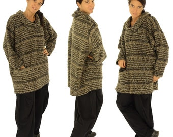 HR500BR sweater 70% polyester / 30 wool Brown Boucle GR 42-52 plus size layer look.