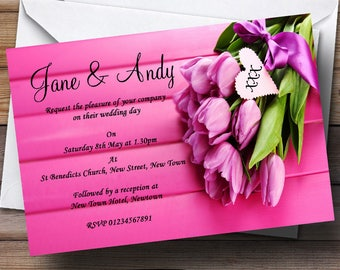 Pink Tulips Personalised Wedding Invitations