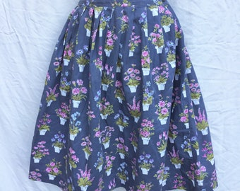 Rockabilly 50's original skirt flowerpots gray cotton metal zip XS/S knee length full gathered shirtwaist cinched