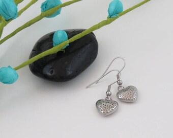 CLEARANCE - Earrings heart stainless steel, stainless steel heart earrings, stainless steel, Valentine gift, love gift