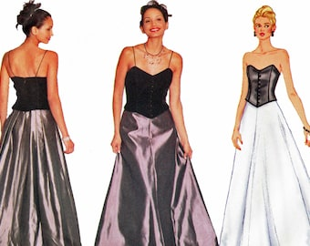 Bustier Gown Pattern Bone Bodice Flared Skirt Formal Evening Prom Dress Separates 1990s Sewing Pattern Butterick 6391 Bust 34 36 38 UNCUT
