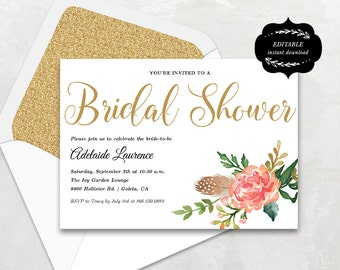Bridal Shower Template, Printable Bridal shower Invitation, DIY template, Instant DOWNLOAD - EDITABLE Text - 5x7, Blush Peony, BS002, VW12