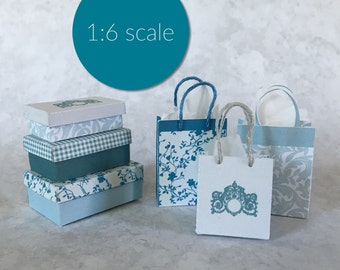 Miniature French style boxes and shopping bags 1:6 SCALE (downloadable, DIY)