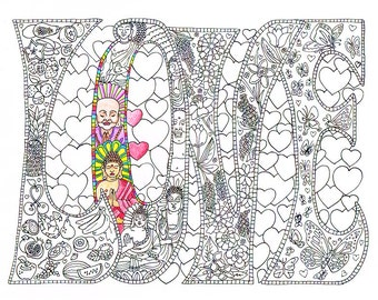 Adult Coloring Page - LOVE - Printable line art to print and color