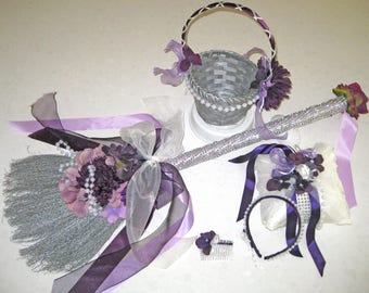 God Love the Color Purple Wedding  Broom Collection with coordinating silver  Broom, Flower Basket, Ring Bearer Cushion and Hair Accessories