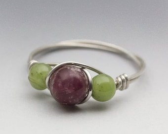 Lepidolite & Nephrite Jade Sterling Silver Wire Wrapped Gemstone Bead Ring - Made to Order, Ships Fast!