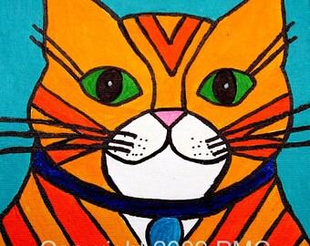 Print chat rayé tigré orange