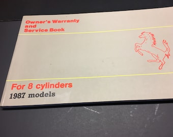 Ferrari Mondial 3.2 Owners Warranty and Service Book, 1987