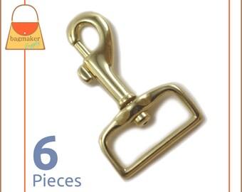 "1 Inch Bolt Style Swivel Snap Hooks, Shiny Brass Finish, 6 Piece Package, Purse Handbag Bag Making Hardware Supplies, 1"", SNP-AA088"