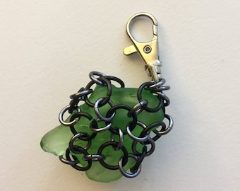 Chainmaille and Seaglass Keychain