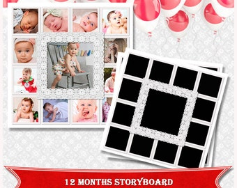 12X12 Photo Collage,Storyboard template, Photoshop Collage Template, Newborn Collage, photo girl, baby girl collage, Babys First Year