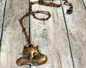 Fox necklace woodland jewelry gift for nature lover simple necklace minimal necklace copper fox jewelry