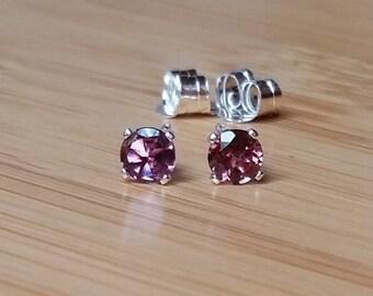 Pink Tourmaline 3.4mm earrings