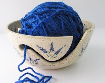Blue Floral Yarn Bowl, Ceramic Yarn Bowl, Floral Yarn Dish, Pottery Yarn Bowl, Knitter's Yarn Bowl, Crocheting Yarn Bowl, Pottery Yarn Bowl