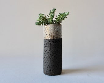 ceramic planter partially black stoneware (with drainage holes)