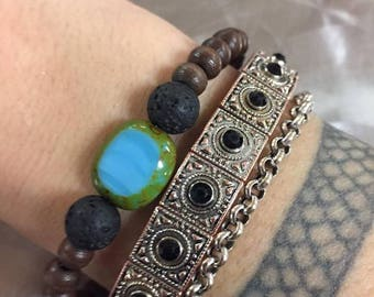 Boho Blue: Black Lava + Brown Wood + Turquoise Czech Lentil Glass