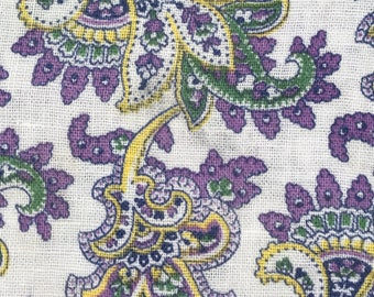 Flawed Open Purple Yellow Green Novelty Paisley w/Floral Vintage Feedsack Flour Sack Cotton Quilt Fabric