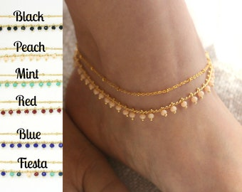 Layered Gold Anklet, Dainty Gold Ankle Bracelet, Double Strand Anklet, Boho Anklet, Gold Anklet, Boho Anklet Bracelet, Gold Layered Anklet