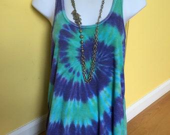 Tye dye tank,  women/teen tie dye flowy tank, hand dyed flowy tank, lavender and parakeet green tie dye tank