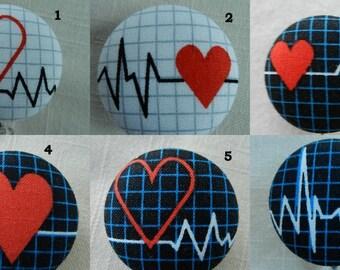 Medical ~ECG~EKG~Heart~ Fabric Retractable Badge Holder Reel, ID Name Holder,Security tag holderl