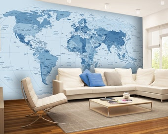 World map wallpaper etsy world map in blue wall mural wallpaper wall dcor nursery and room publicscrutiny Gallery