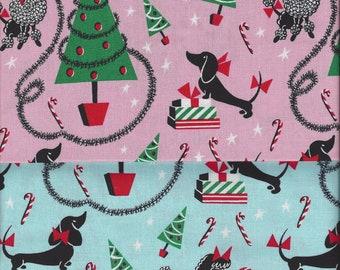 Mid Century Modern Canine Christmas I Spy Dog Fabric By the Fat Quarter