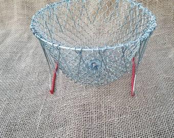 French Collapsible Hanging Wire Egg Basket Fruit Vegetable Basket