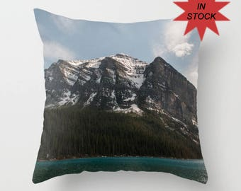 16x16 Lake Louise Cushion Cover, Rustic Mountain Lodge Decor, Blue Sofa Accent Pillow Case, Canadian Rocky Mountains Snowy Peaks Alberta
