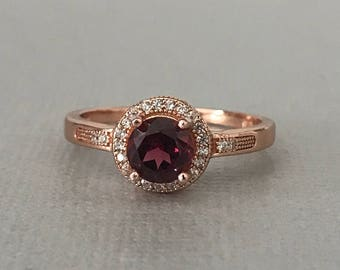 Rhodolite Garnet Ring Rose Gold Halo Round Natural Garnet Simulated Diamond Sterling Silver Engagement Promise Ring January Birthstone