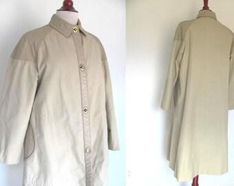 SALE Vintage 70s Bonnie Cashin for Sills Coat / Leather and Cotton Canvas Long Coat / Twistlocks / Tan - Beige / Late 1960s - 1970s