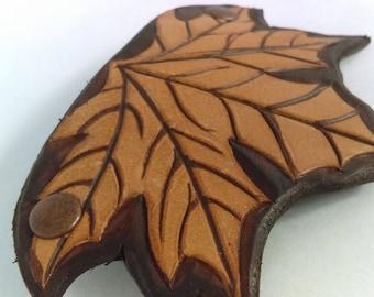 Leather Barrette - Maple Leaf